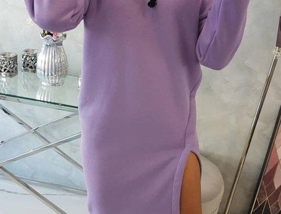 Nay Drawstring Slit Leg Hoodie Dress
