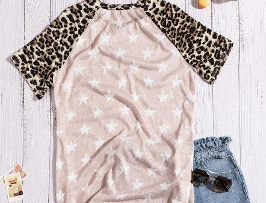 Mila Leopard Star Print Casual T-shirt