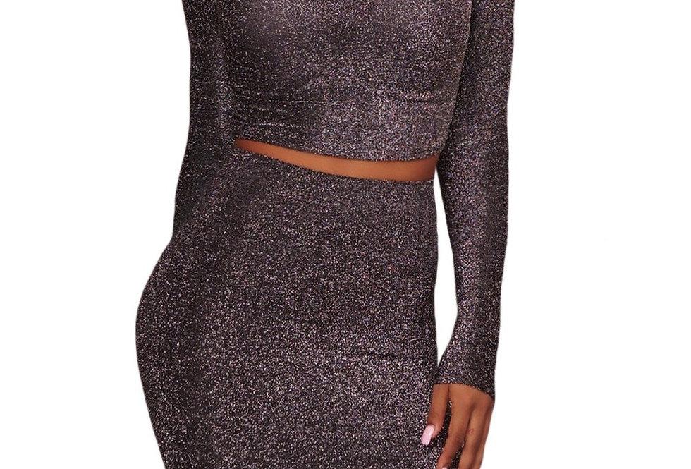 Silvia Glitter Shimmer Polo Crop Top Skirt Set