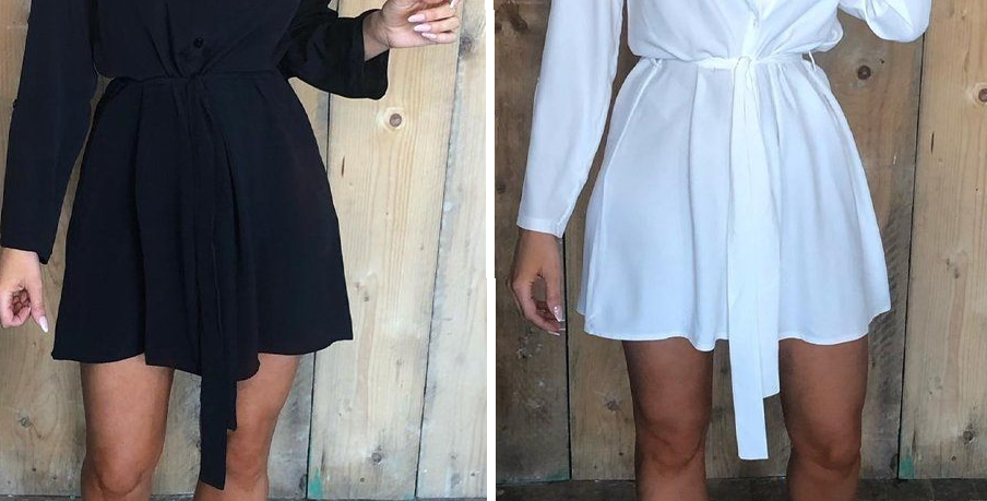 SALE Lorin WHITE Belted Shirt Dress