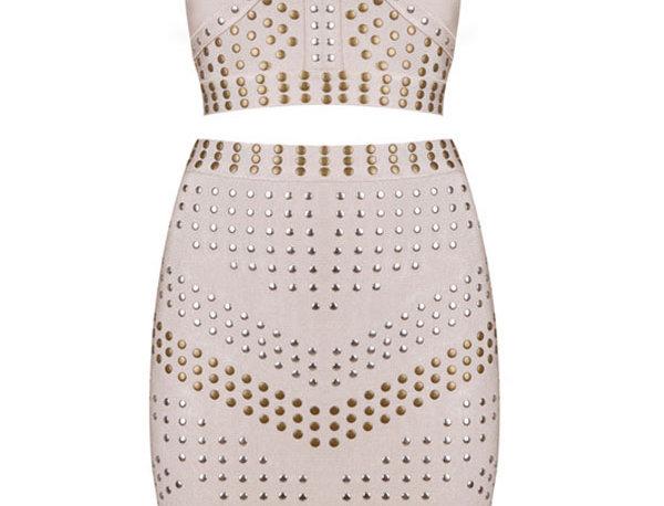 Zoe Leatherette Embellished 2PC Bandage Skirt Set