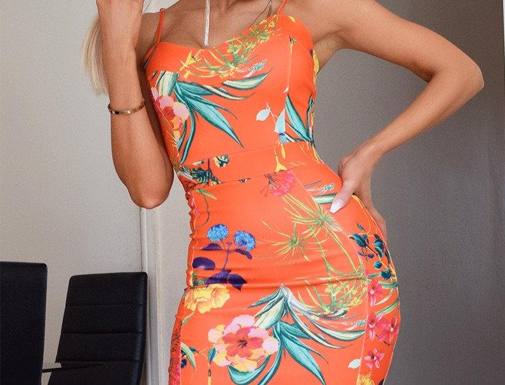 Harper Floral Print Bodycon Midi Dress