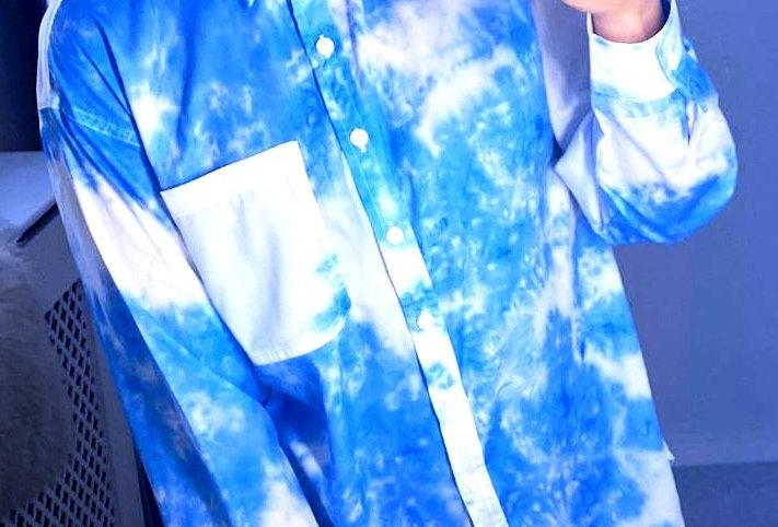 Francine  Blue  Tie Dye Button Up Shirt Blouse