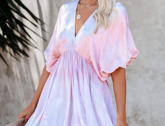 Polly Tie Dye Rainbow Babydoll Swing Dress