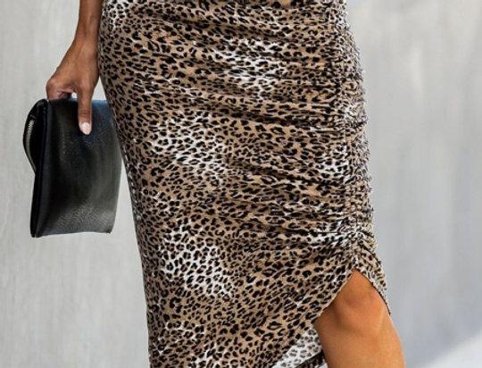Taylor Leopard Print Ruched Midi Leopard Print Skirt