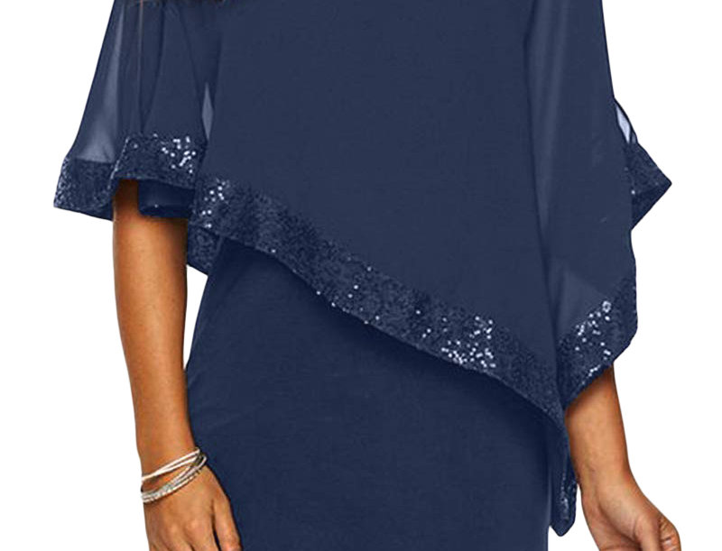Kay Poncho Overlay Sequin Bodycon Dress