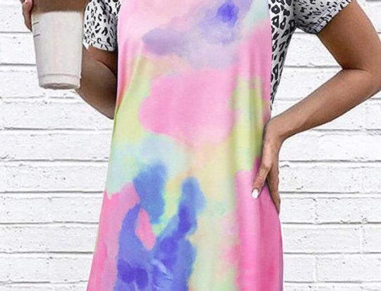 Poppy Leopard Tie Dye Swing Dress