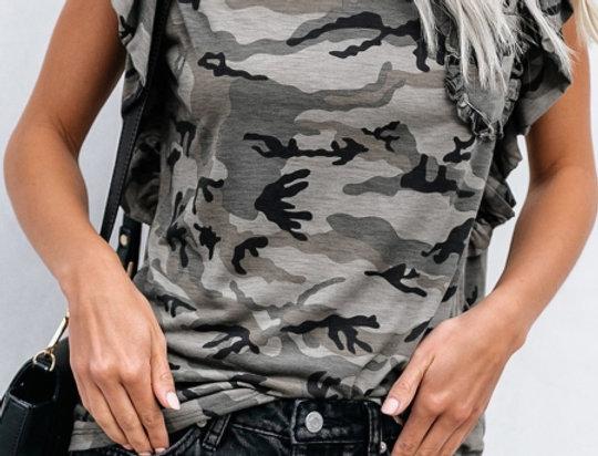 Tina Camo Ruffle Sleeve Casual Top