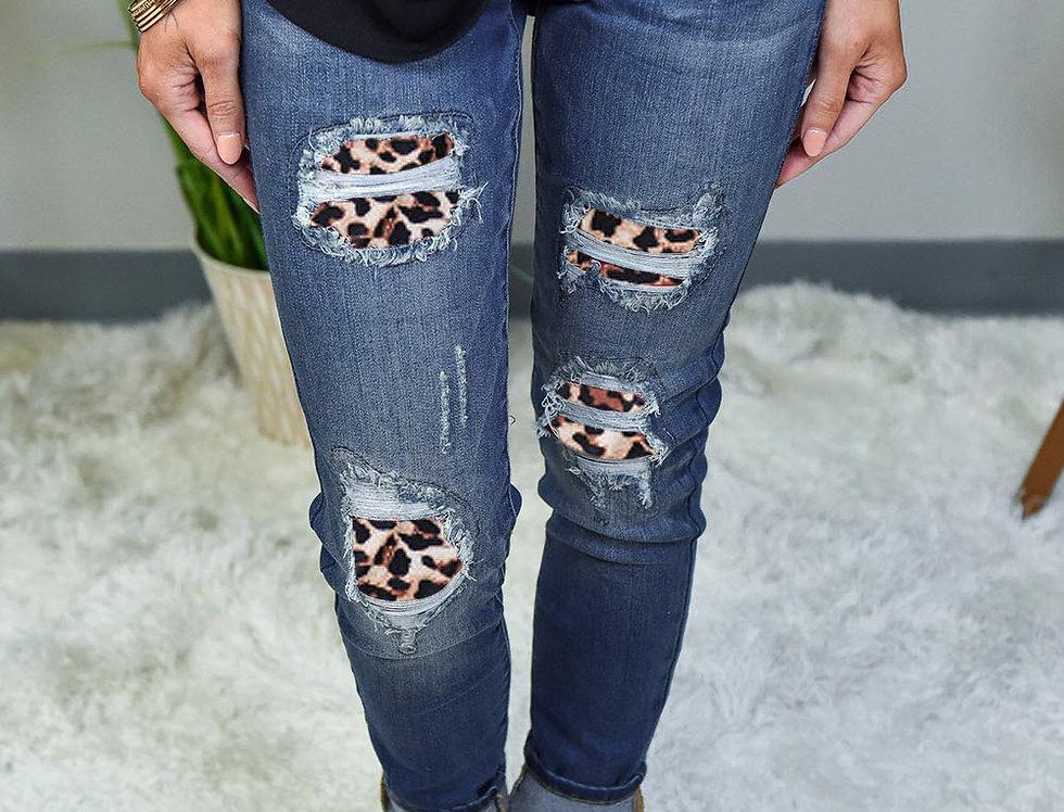 Zavvi Leopard Patch Detail Black Distressed Jeans