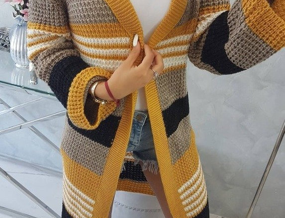 Antiona Striped Cable Knit Longline Cardigan