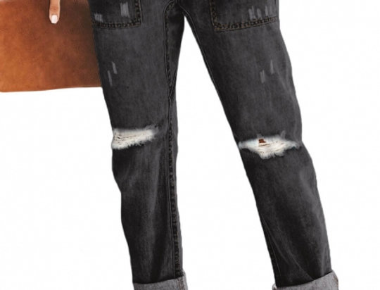 SALE Black Gather Round Distressed Pocketed Denim Jogger