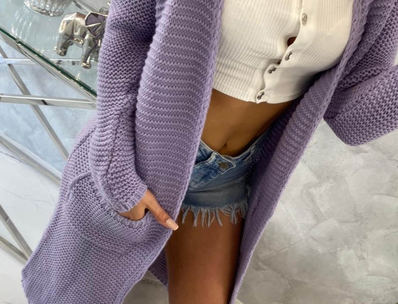 Else Pocketed Knitted Trench Cardigan