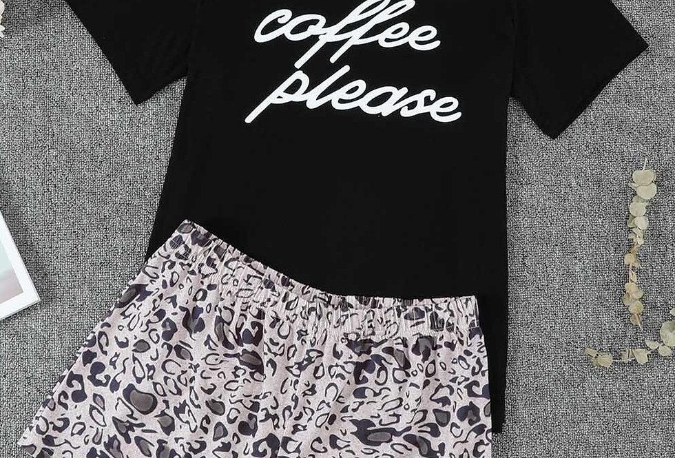 Coffee Please Shorts T-shirt PJ Set
