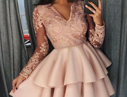 Rosa VIP Sequin Embellished Layered Skater Dress