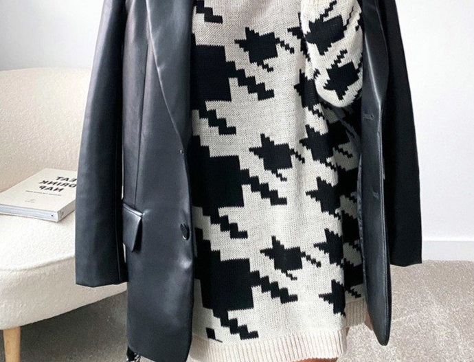 Anne Houndstooth Knitted Loose Jumper Dress