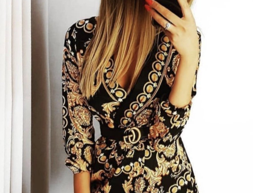 Rachel Black Gold Chain Print Shirt Dress