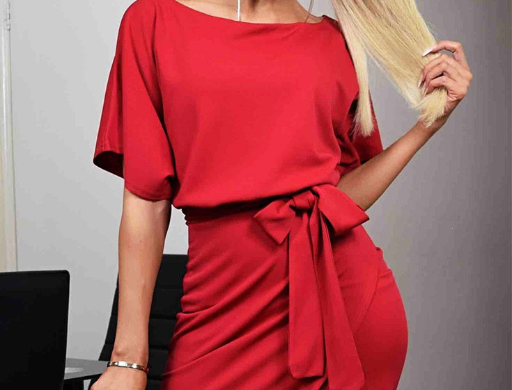 Judith Red Belted Bodycon Dress