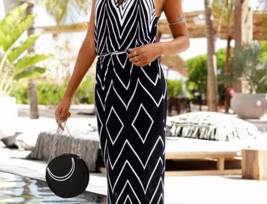 Sadie Boho Halterneck Printed Maxi Dress
