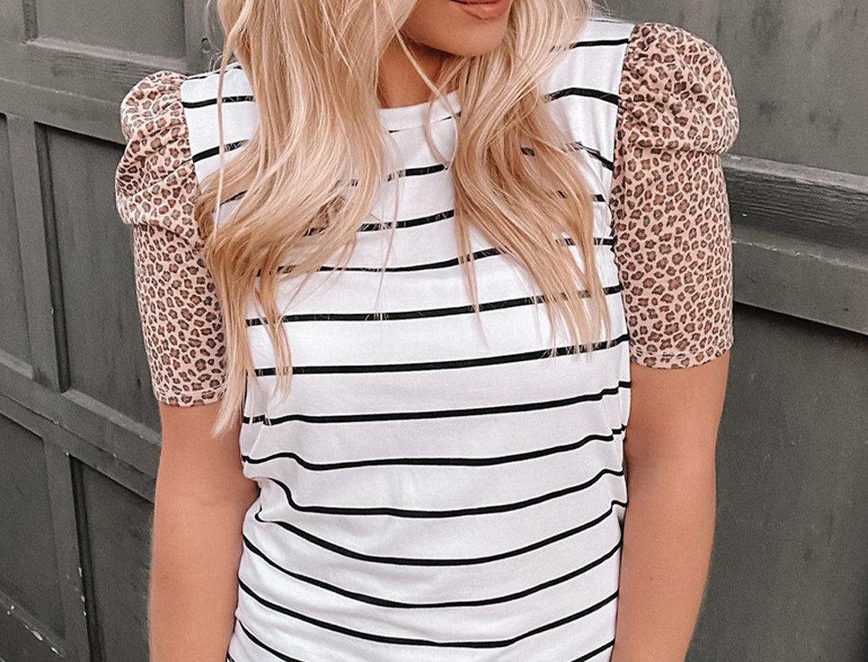 Molli Puff Shoulder Leopard Striped Top