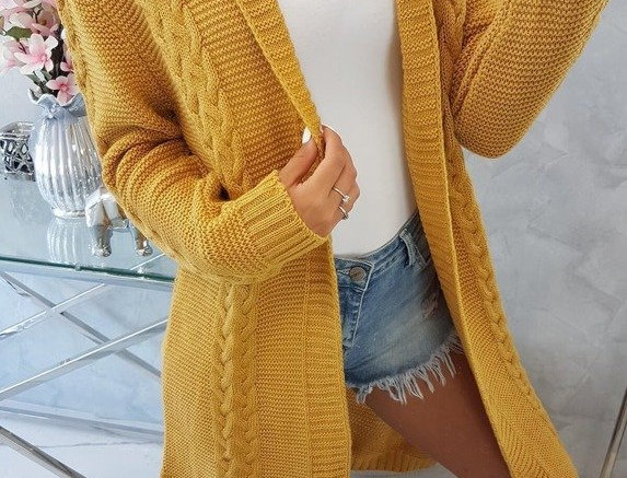 Emily Braided Knitted Longline Trench Cardigan