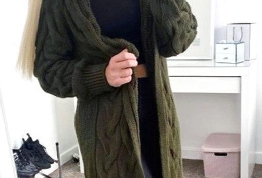 Adela  Khaki Thick Knitted Trench Cardigan Jacket