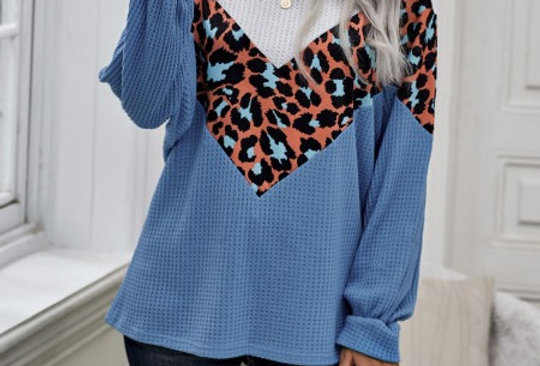 Jules Blue Contrasted Leopard Print Knitted Sweater