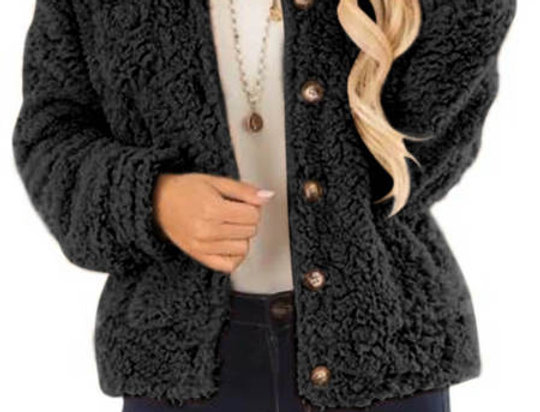 Coleen Gold Button Up Teddy Bear Jacket