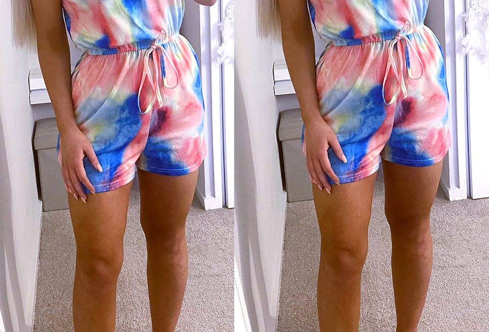 Bella Tie Dye Pocketed Button Up Playsuit