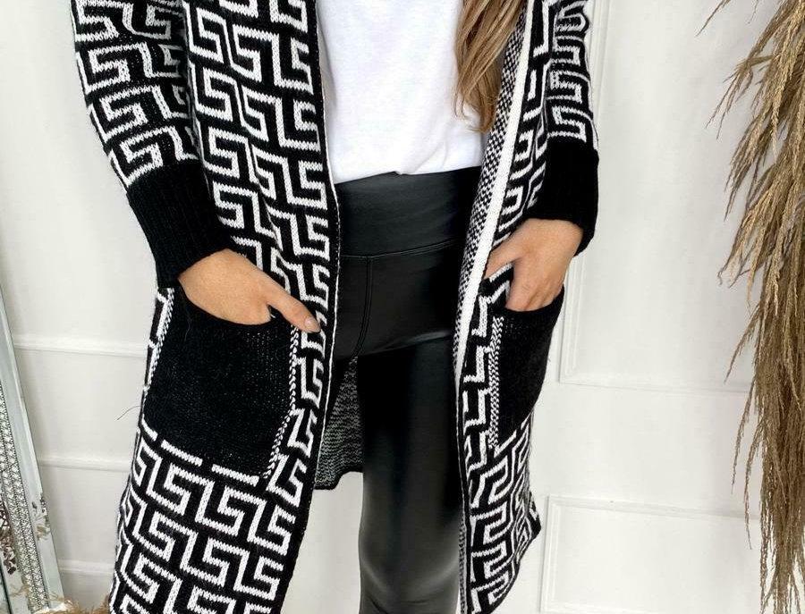 Roseanna Geometric Hooded Pocketed Cardigan