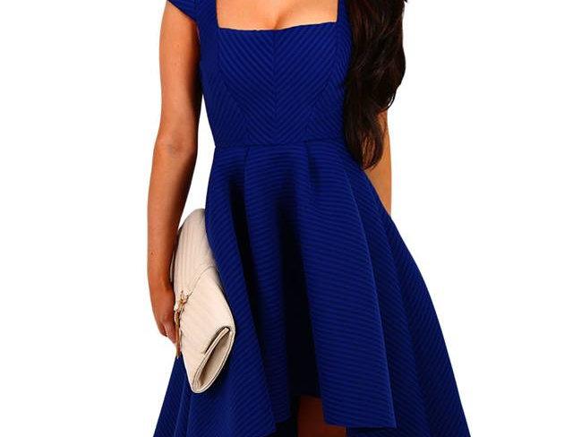 SALE Melody Blue Dripped Hem Ribbed Skater Dress