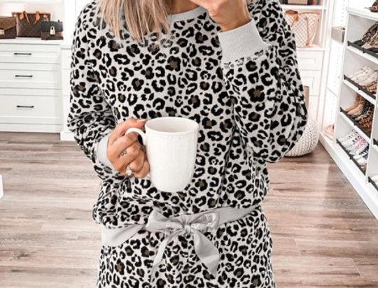Freya Leopard Print Sweater Shorts Lounge Set