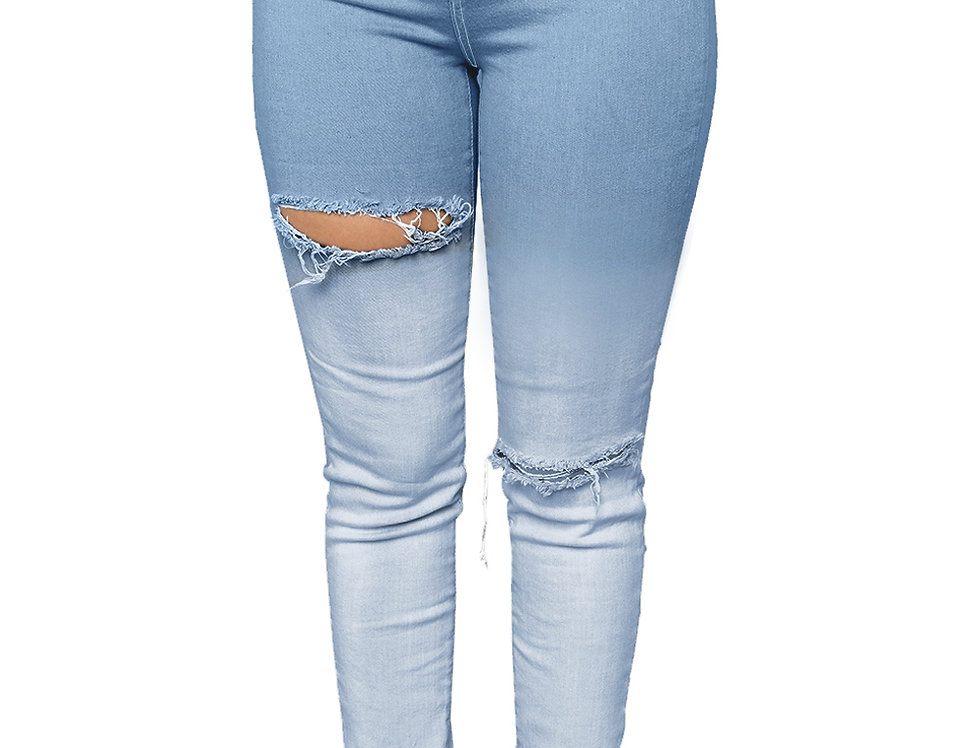 Light Blue Ombre Bleach Wash Ripped Jeans