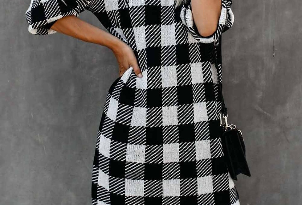 Dina Soft Knit Checked Long Sleeve Jumper Dress