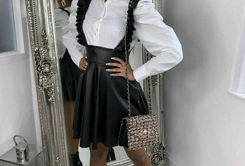 Lilly Faux Leather Pleated Pinafore Skater Dress