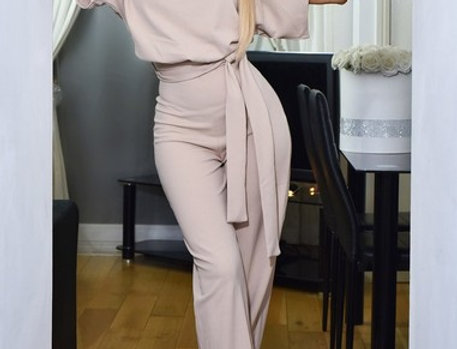 Judith Belted Wrap Palazzo Jumpsuit