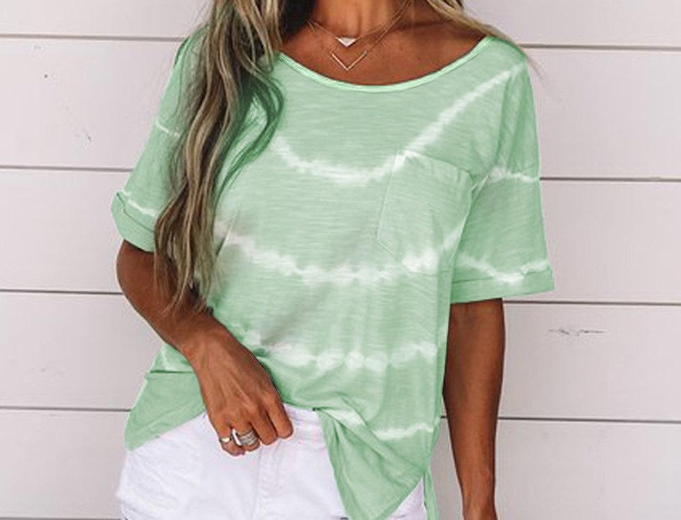 Cadie Lime Green Basic Pocket T-shirt