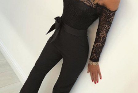 Adele  Lace Floral Off The Shoulder Palazzo Jumpsuit