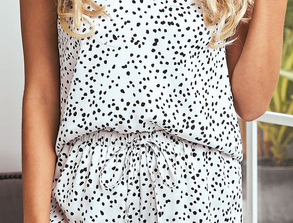Holly Polka Dot Satin Top Shorts PJ Set