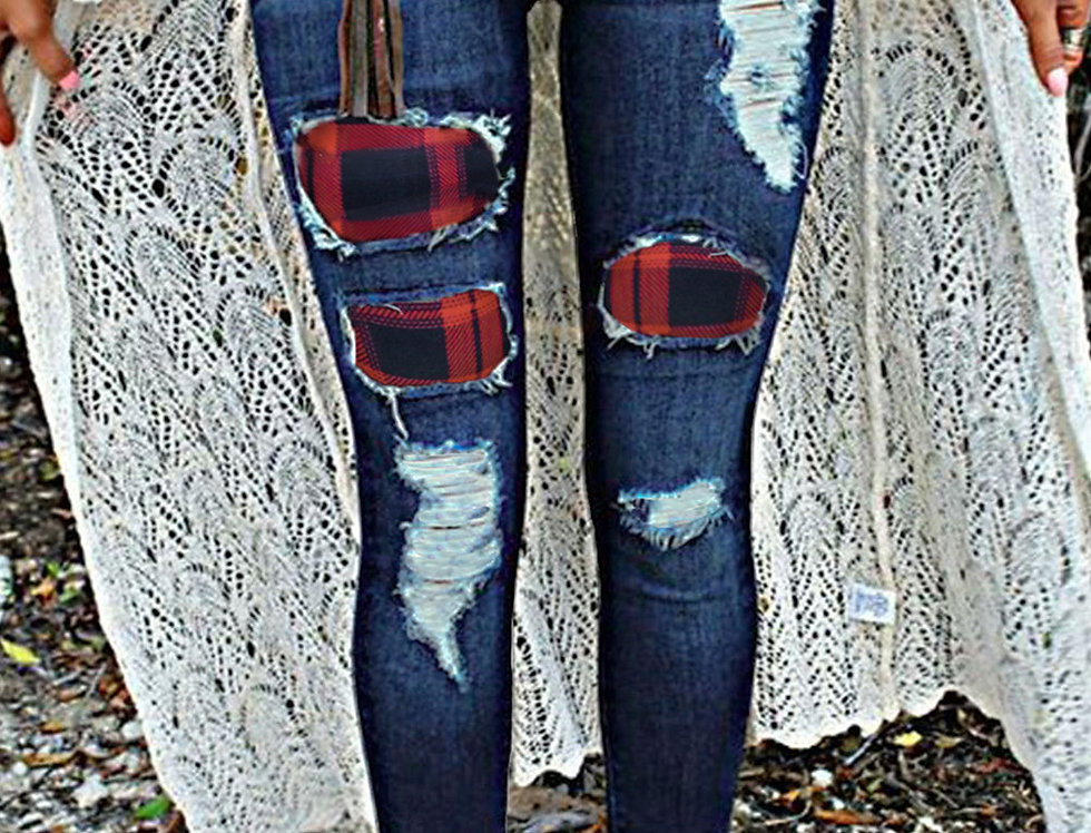 Roberta Tartan Patch Denim Distressed Jeans
