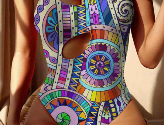 Material Girl Rainbow Cut Out Swimsuit