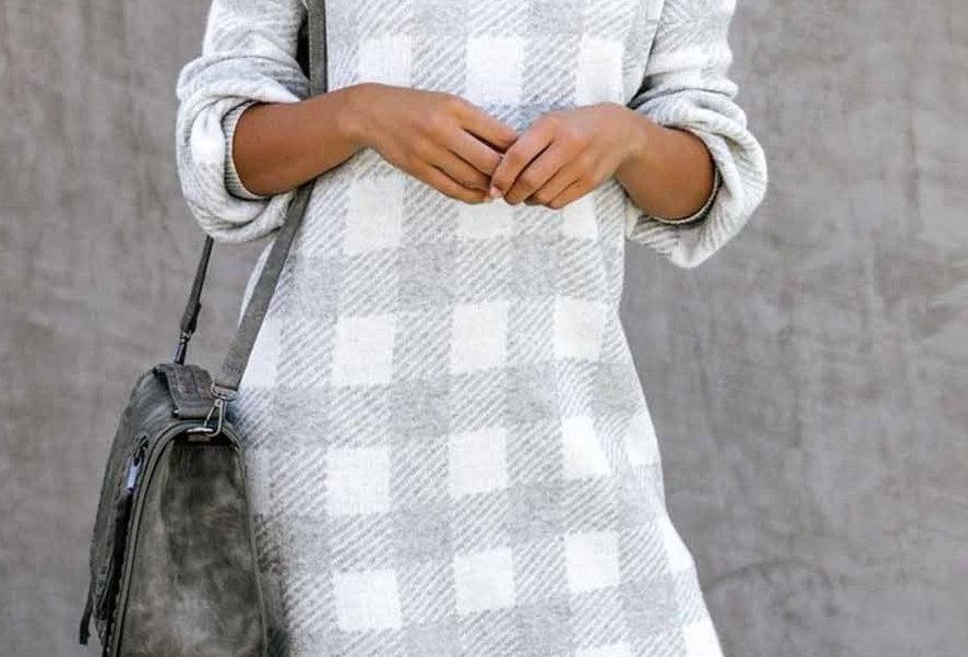 Dina Soft Knit Checked Long Sleeve Jumper Dress