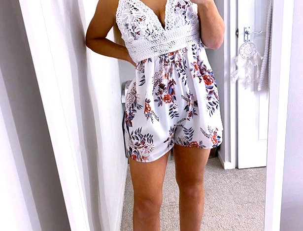 Rina Floral Sweetheart Crochet Playsuit