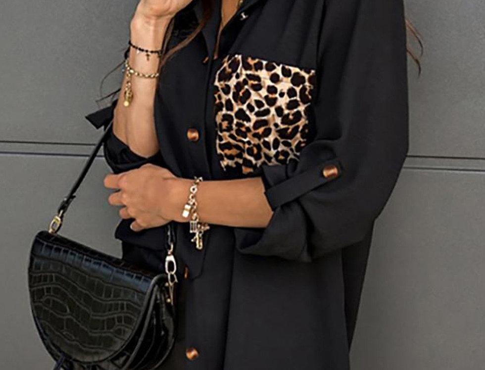 Dokta Oversized Leopard Print Chiffon Shirt Dress
