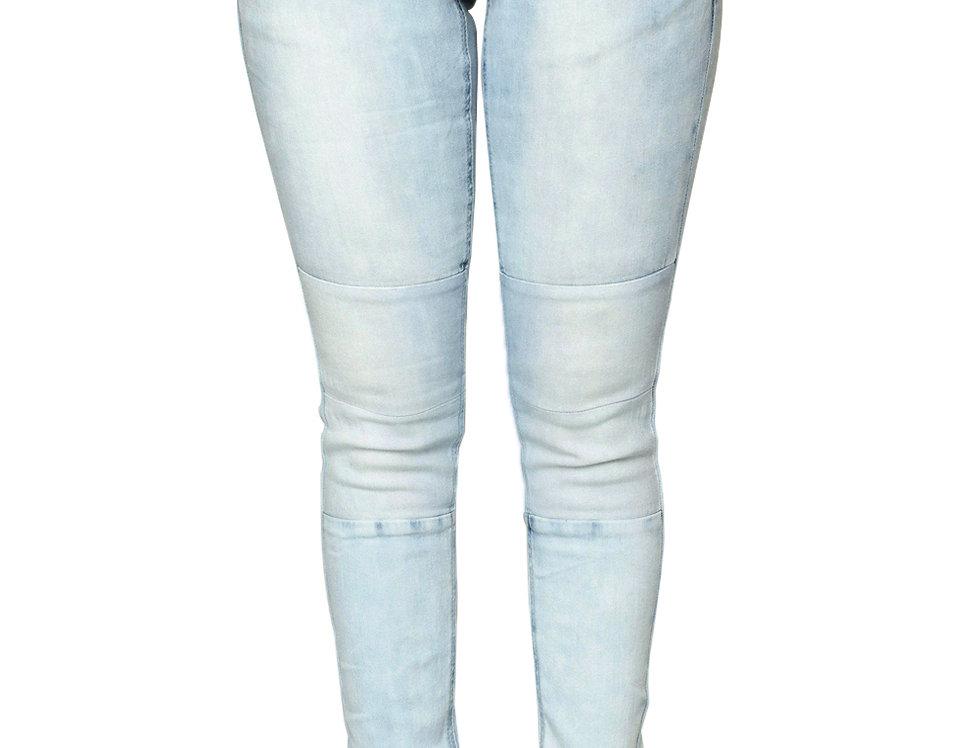 Light Blue Wash Knee Patch Denim Jogger Pants
