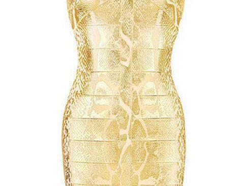 Cora Metallic Gold Snake Print Bandage Dress