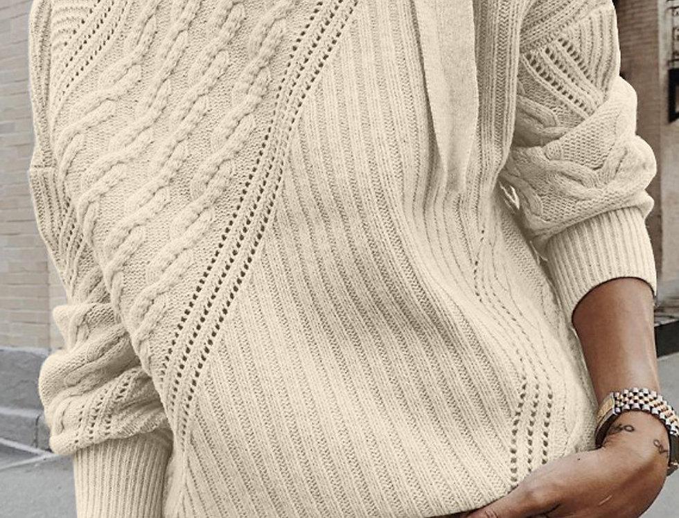 Izzy Cold Shoulder Buckle Strap Choker Knitted Jumper
