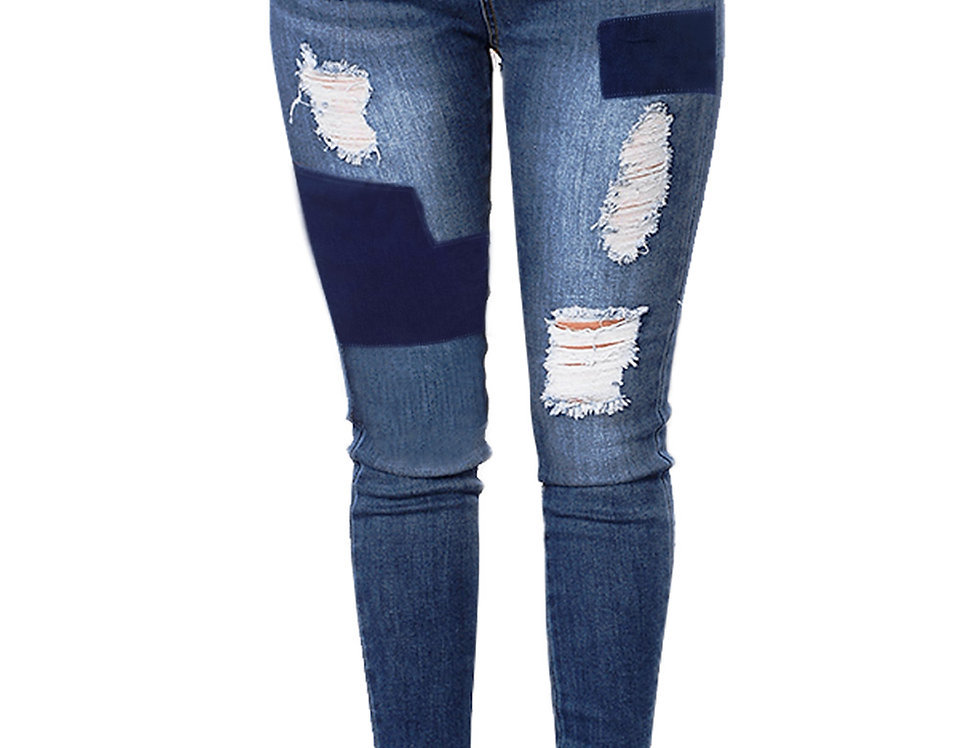 Blue Patch Work Ripped Jeans