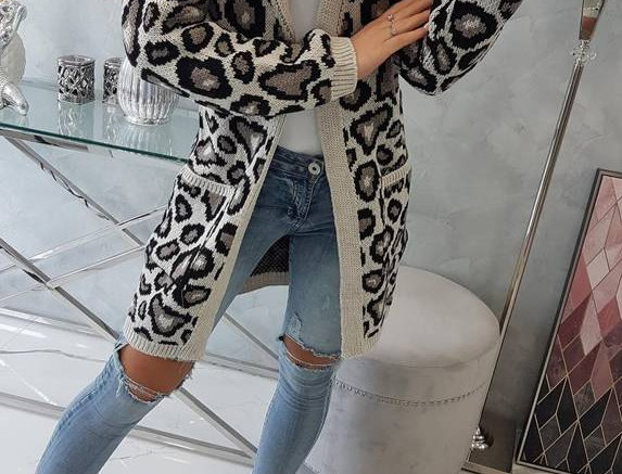 Darla Leopard Print Knitted Pocketed Cardigan