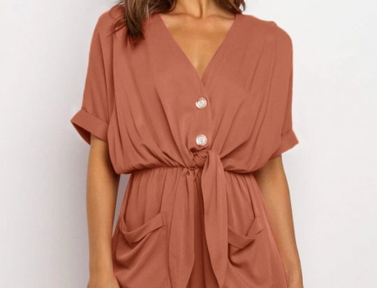 Shirley Tie Twist Pocketed Playsuit