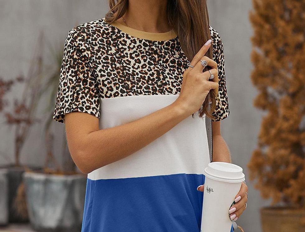 Ruby Block Colour Leopard T-shirt
